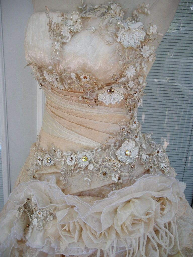 handmade wedding dresses RESERVED for ASHLEY Handmade Wedding Dress Mini Plus Tail Beige Roses Embroidered Appliques Size 10 12