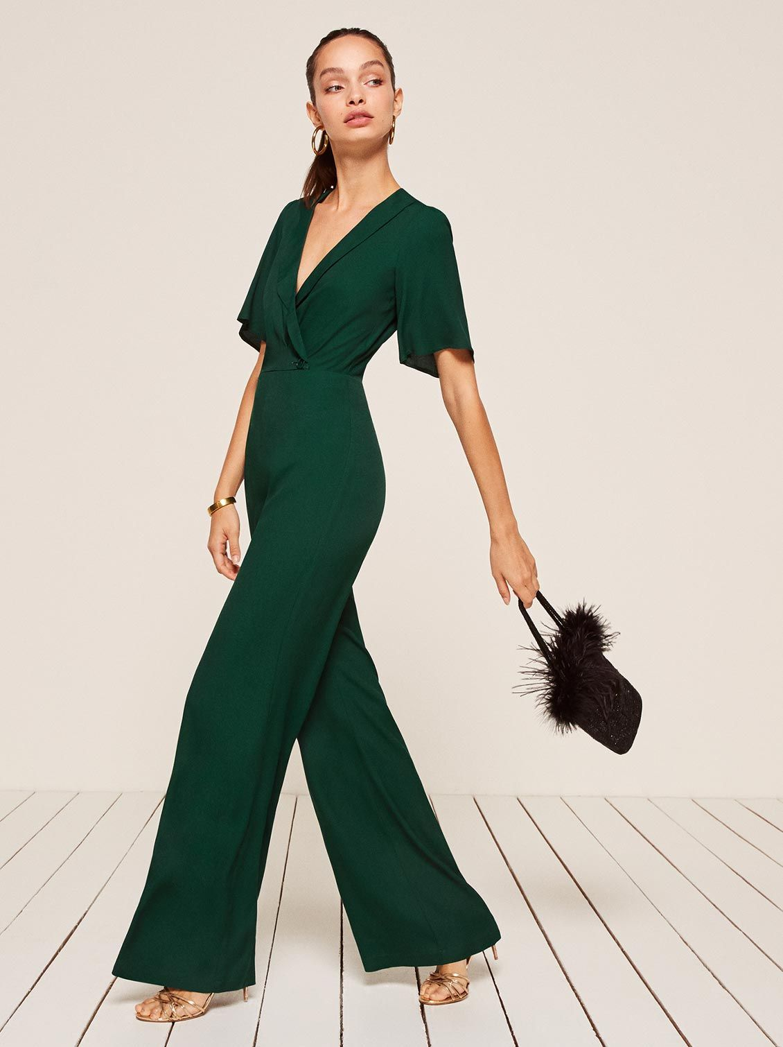 f5444511e8 Emerald green jumpsuit ethically made by reformation. Adding to my spring  wish list.
