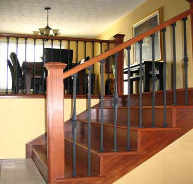 Wood And Metal Railing Wrought Iron Spindles 3 Colours Not | Wood And Metal Handrail | Interior | Iron Railing | Architectural Modern Wood Stair | Stainless Steel | Traditional