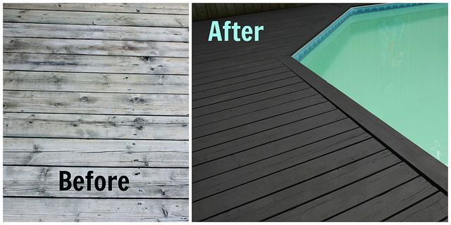 Amazing Pool Deck Transformation With Behr Premium Deckover Looks Like A Whole New Deck Behrpaint Behrdiyexpert Painted Pool Deck Deck Makeover Pool Deck