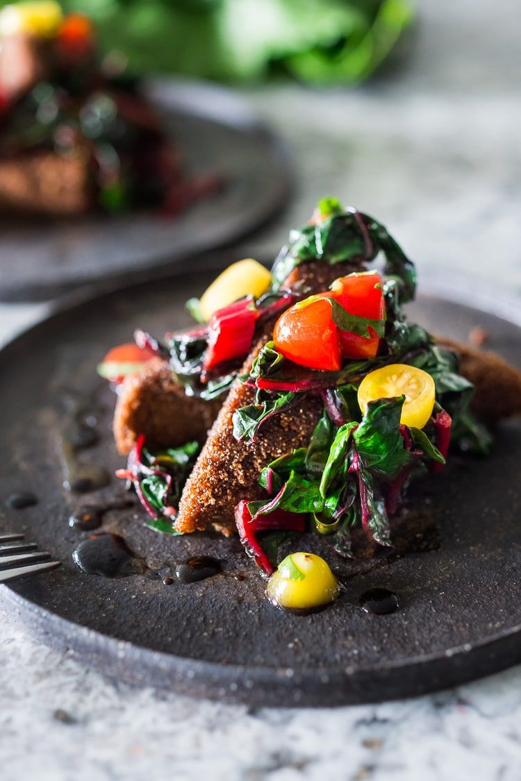 Crispy Teff Cakes with Wilted Chard & Fresh Tomato Relish Crispy Teff Cakes with Wilted Chard and fresh Tomato Relish - a simple delicious vegan meal that is full of protein and nutrients!
