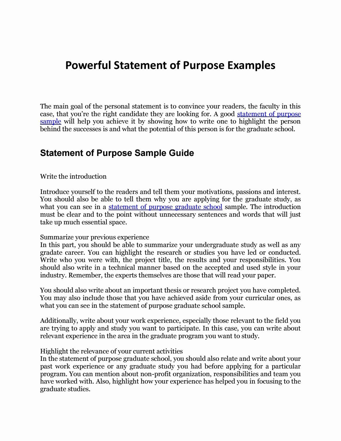 Statement Of Purpose Template Unique Statement Of Purpose