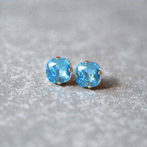Aquamarine Rounded Square Blue Swarovski Crystal Stud by MASHUGANA