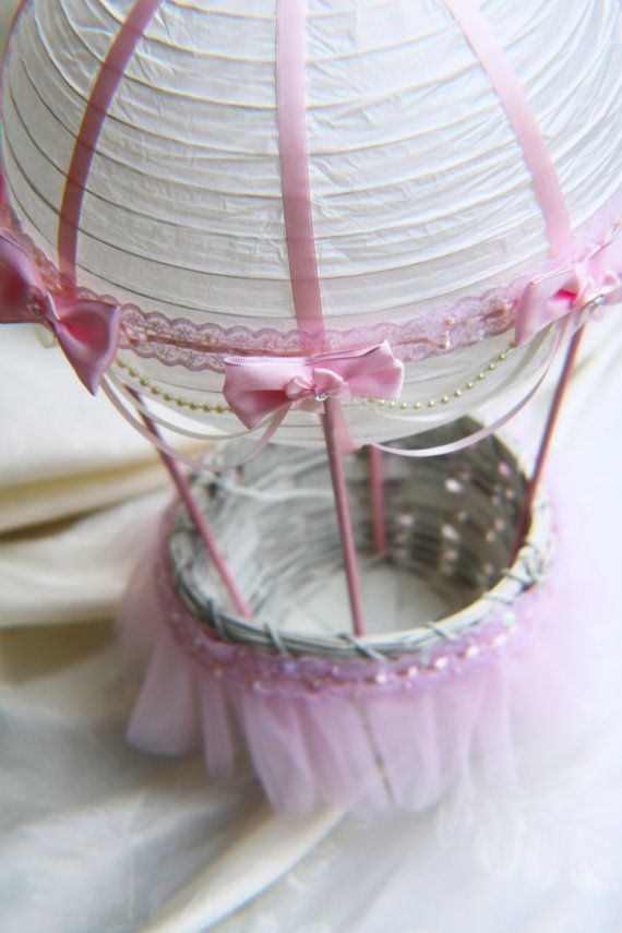 Hot Air Balloon Baby Shower Centerpiece - Ivory and Pink Lace
