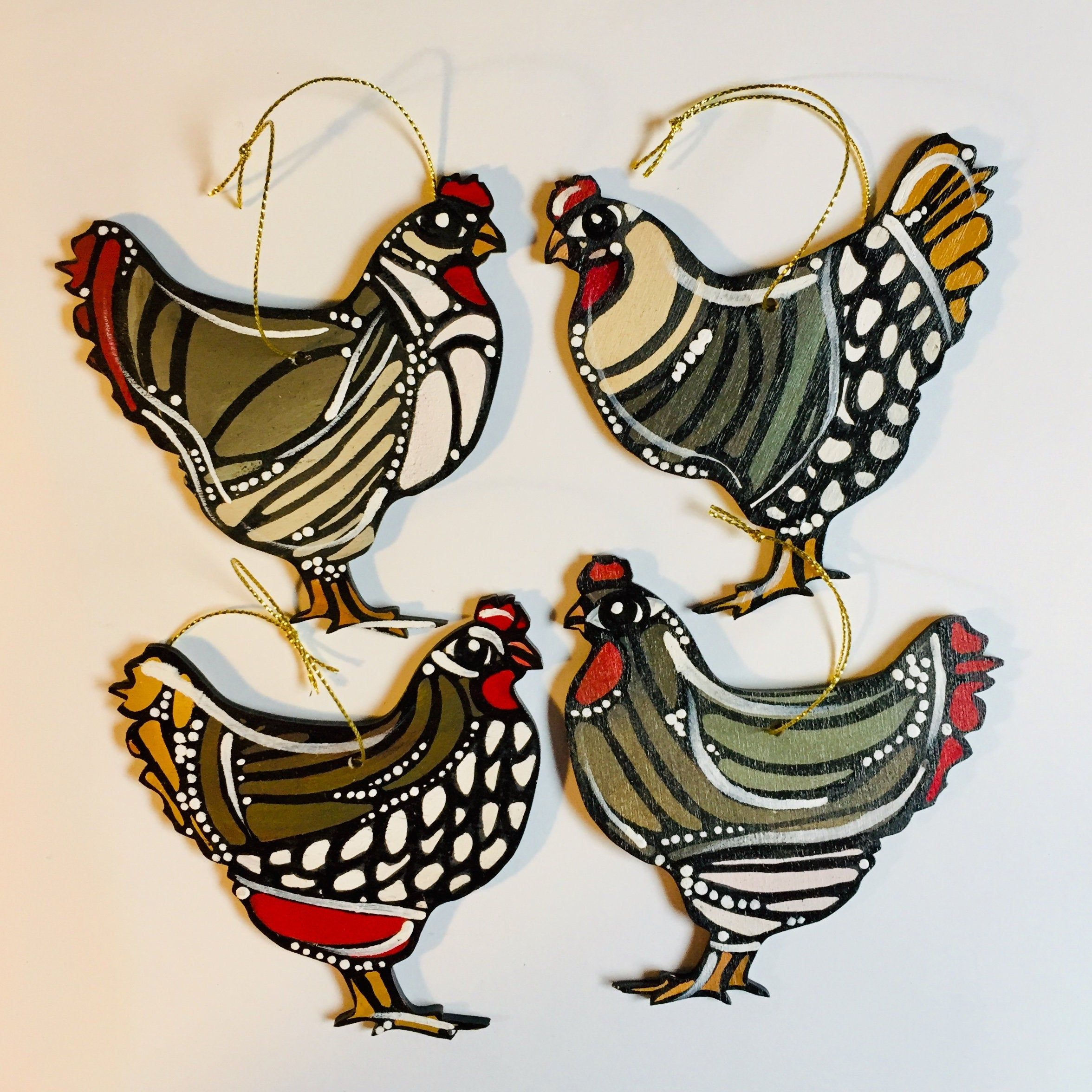 Chicken Ornament Handmade And Hand Painted Hen Hanging Ornament One Of A Kind Poultry Signed Wood Orname Chicken Lover Gifts Colorful Artwork Cow Ornaments