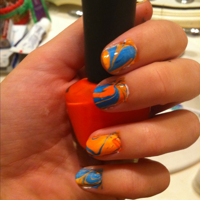 Auburn nails! :) YouTube marble nail art to learn how.. Can do with ...