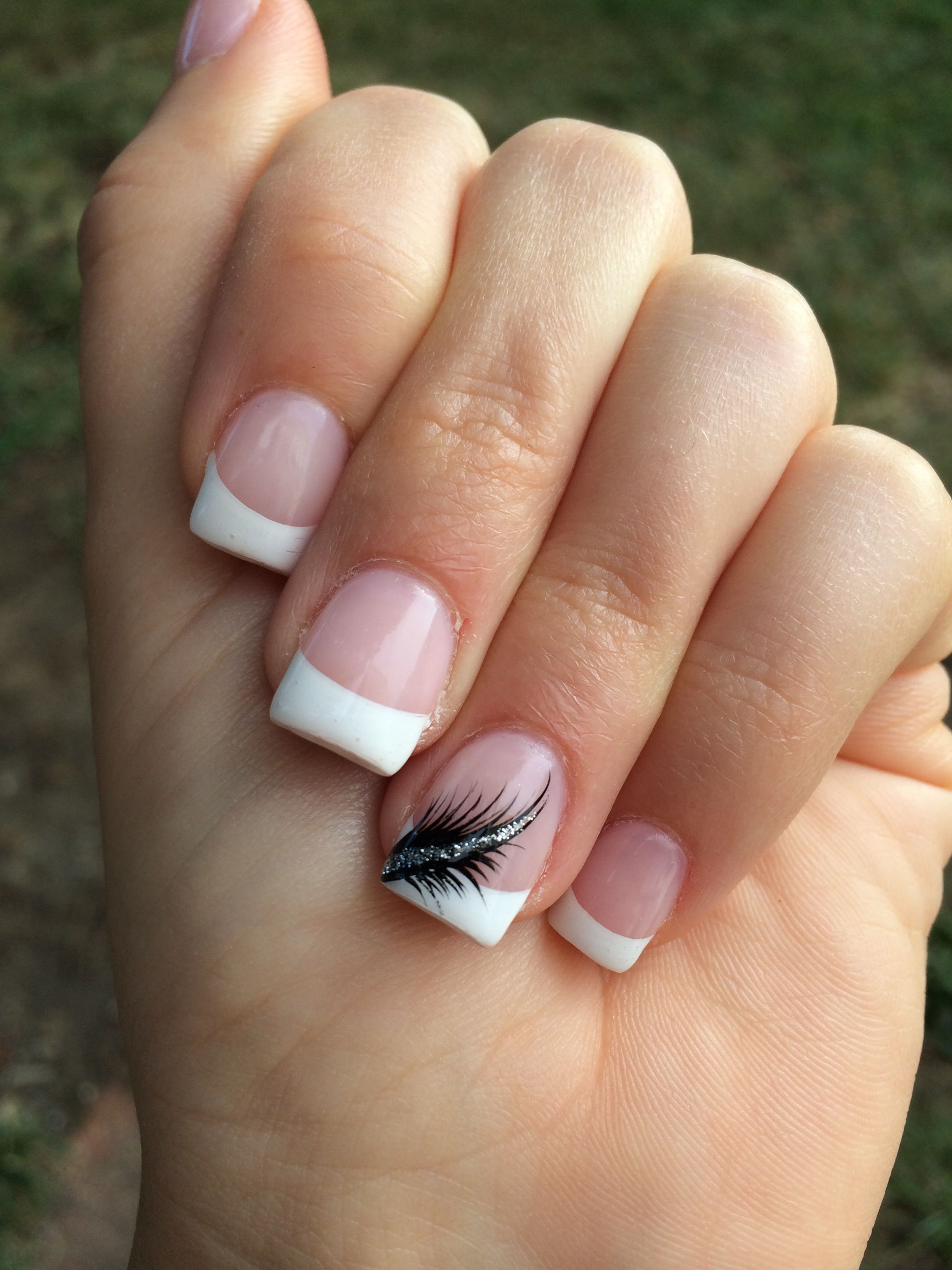 French tips with a feather | Nails | Feather nails, Nails, French ...