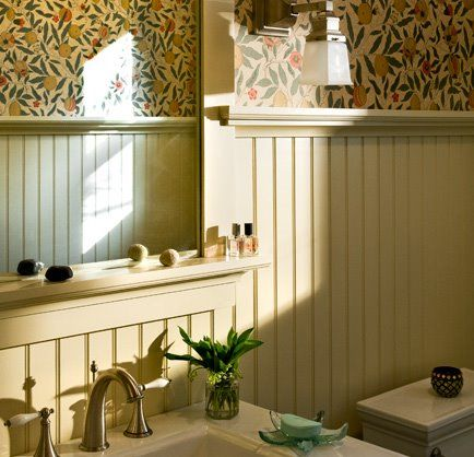 Wallpaper In The Bathroom Yea Or Nay Do You Like How They Ve Only Done It Up Half The Wall Beadboard Bathroom Beadboard Wainscoting Dining Room Wainscoting