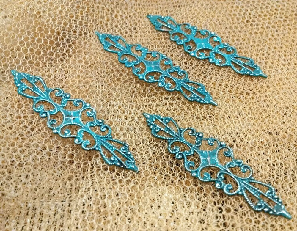 Hand distressed Filigree links Hand Patina Jewelry Findings Mixed Media supply $7.99