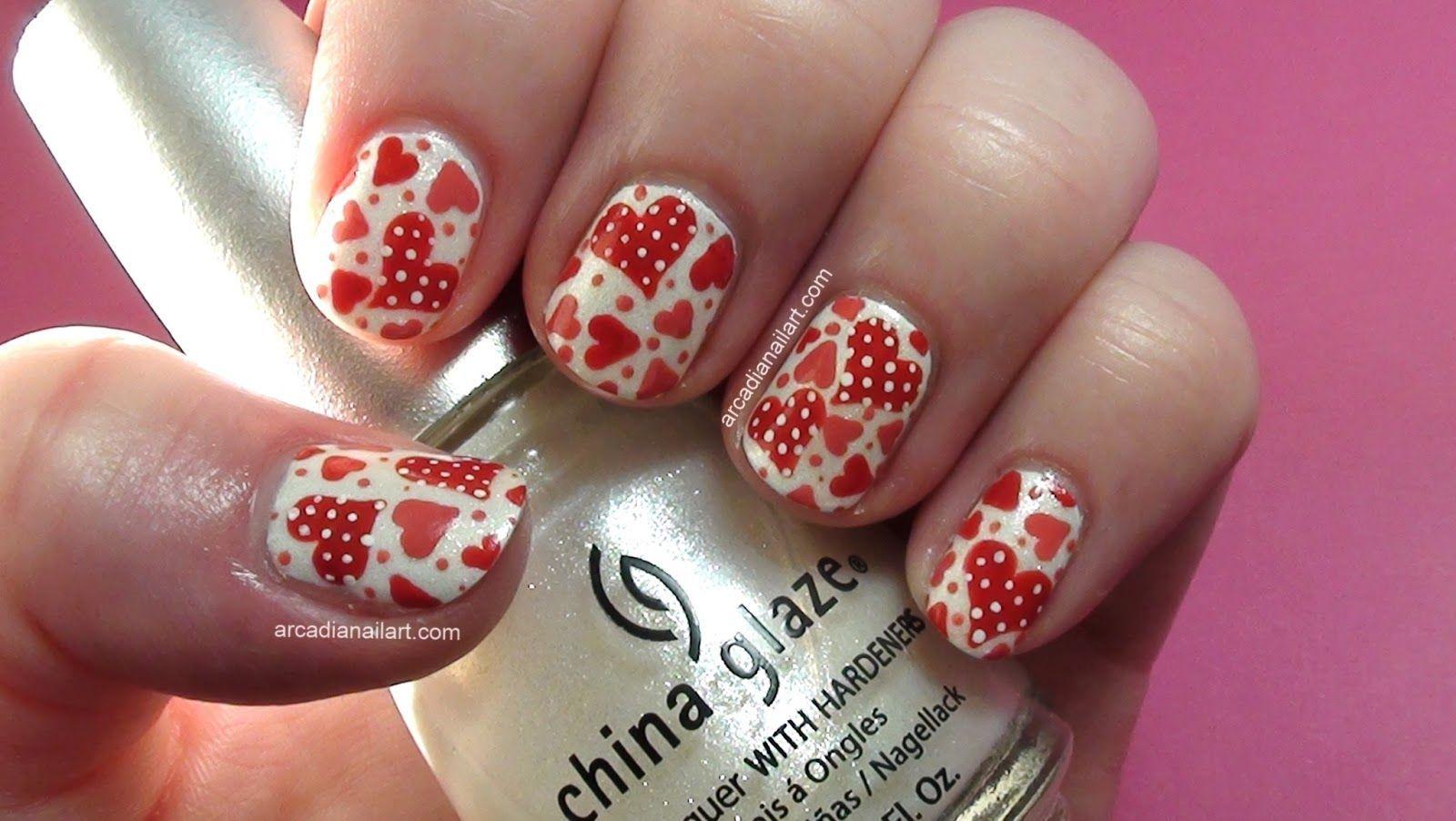 Photo of ArcadiaNailArt: Easy Polka Dot Hearts Nail Art Tutorial #valentines day nails ea…