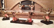 Beautiful Rare Vintage 1954 Chalk & Acrylic Hula Dancer Tables and Lamps Set