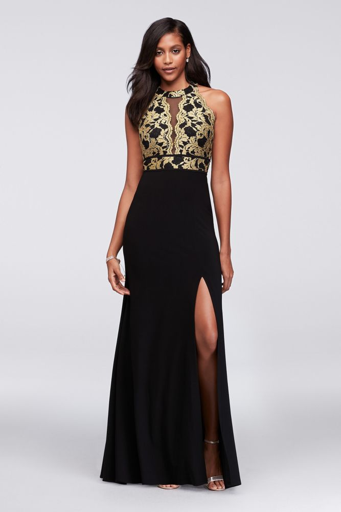 b1881b74b5e8 Glitter Lace and Jersey High-Neck A-Line Gown - Black / Gold, 10 ...
