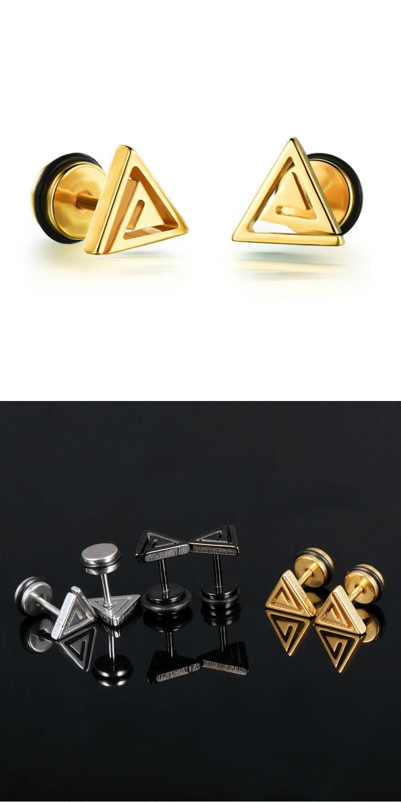 for color mens men magnetic pin fashion stud punk circle black gold lokaer simple white studs earrings