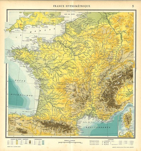 Vintage Map Of France 1930s Hypsometric Map Maps Etc Pinterest