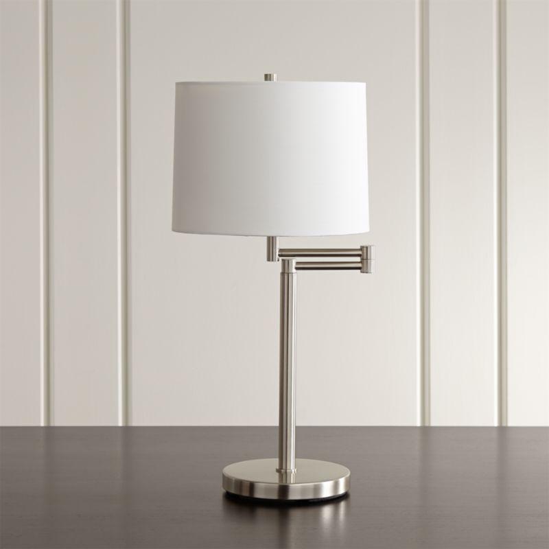 Shop Metro Ii Brushed Nickel Swing Arm Table Lamp Modern Lighting With A Versatile Arm That Swings To Expand Its Range Table Lamp Lamp Adjustable Floor Lamp