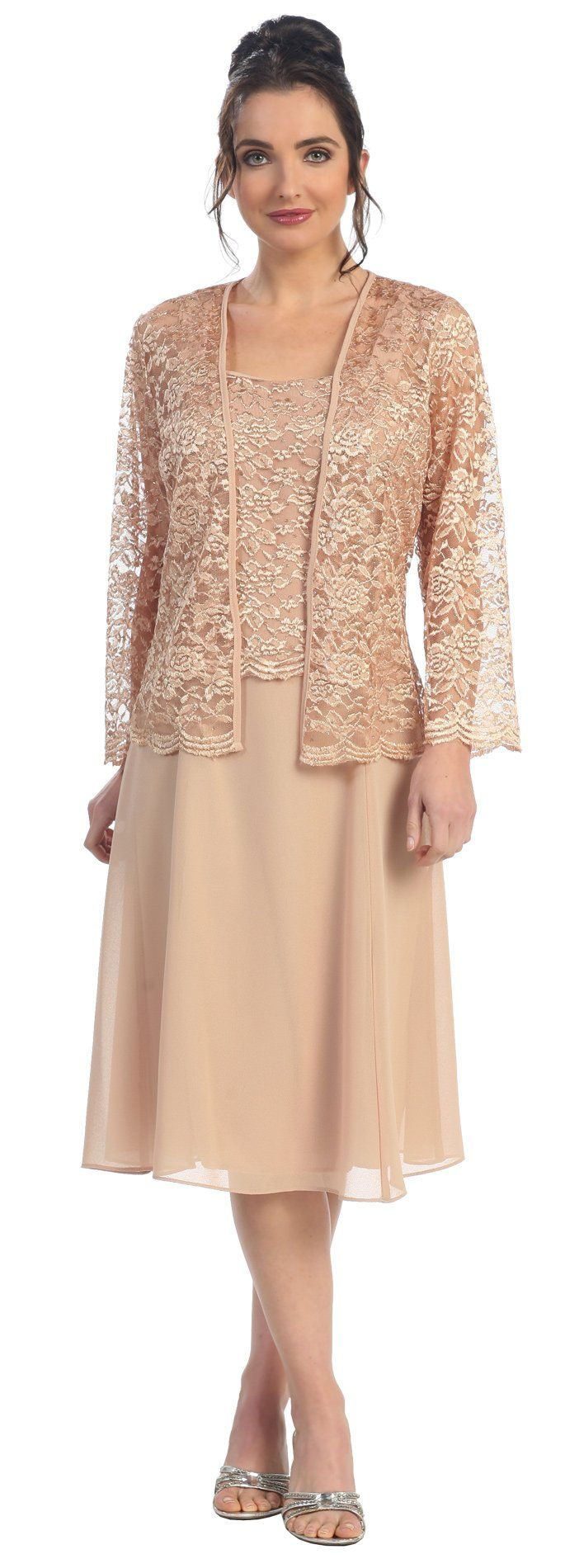 Short Gold Mother of Groom Dress Chiffon Knee Length Lace