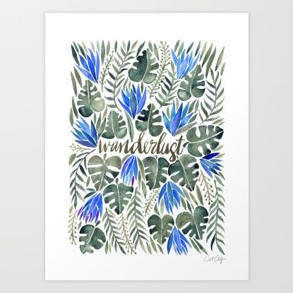 Tropical Wanderlust – Periwinkle Art Print by Cat Coquillette | Society6