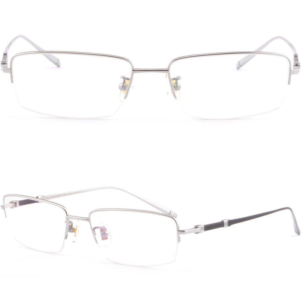 Thin Light Half Rim Pure Titanium Frame Mens Women's Prescription Glasses Silver #Unbranded