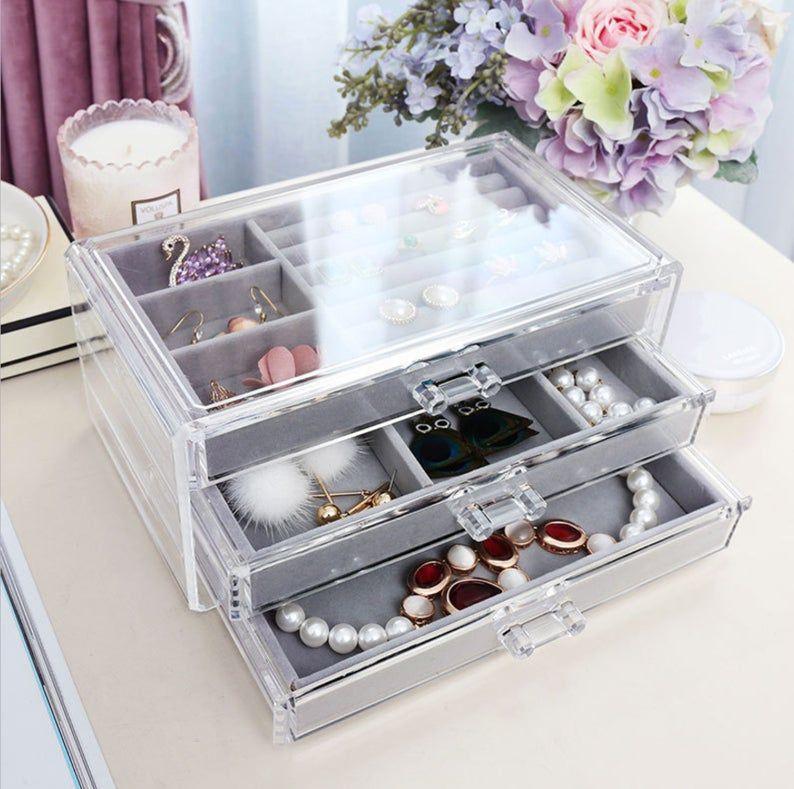 Jewelry Organizer Jewelry Drawers Ring Box Velvet Tray Etsy Jewelry Organizer Drawer Jewelry Organizer Box Jewelry Drawer