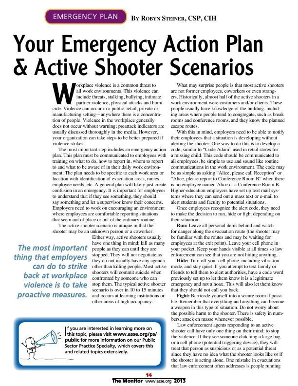 Your Emergency Action Plan \ Active Shooter Scenarios Trending - emergency action plans