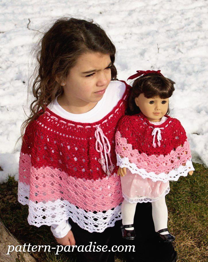 Free crochet pattern for girls poncho wrap jacket and doll poncho #crochet #freepatterns #hat #beanie
