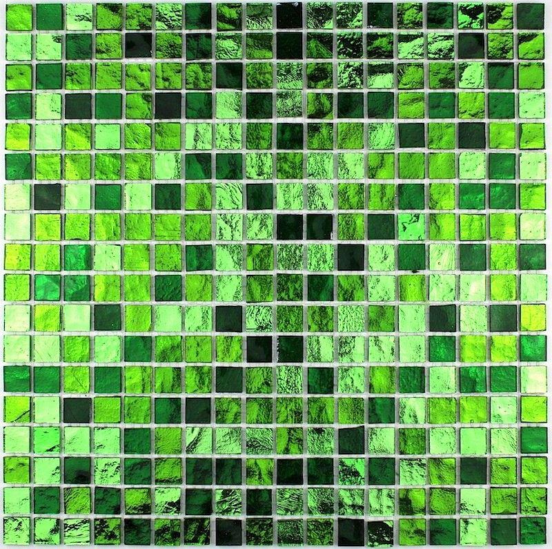 mosaique douche et salle de bain en verre gloss-vert