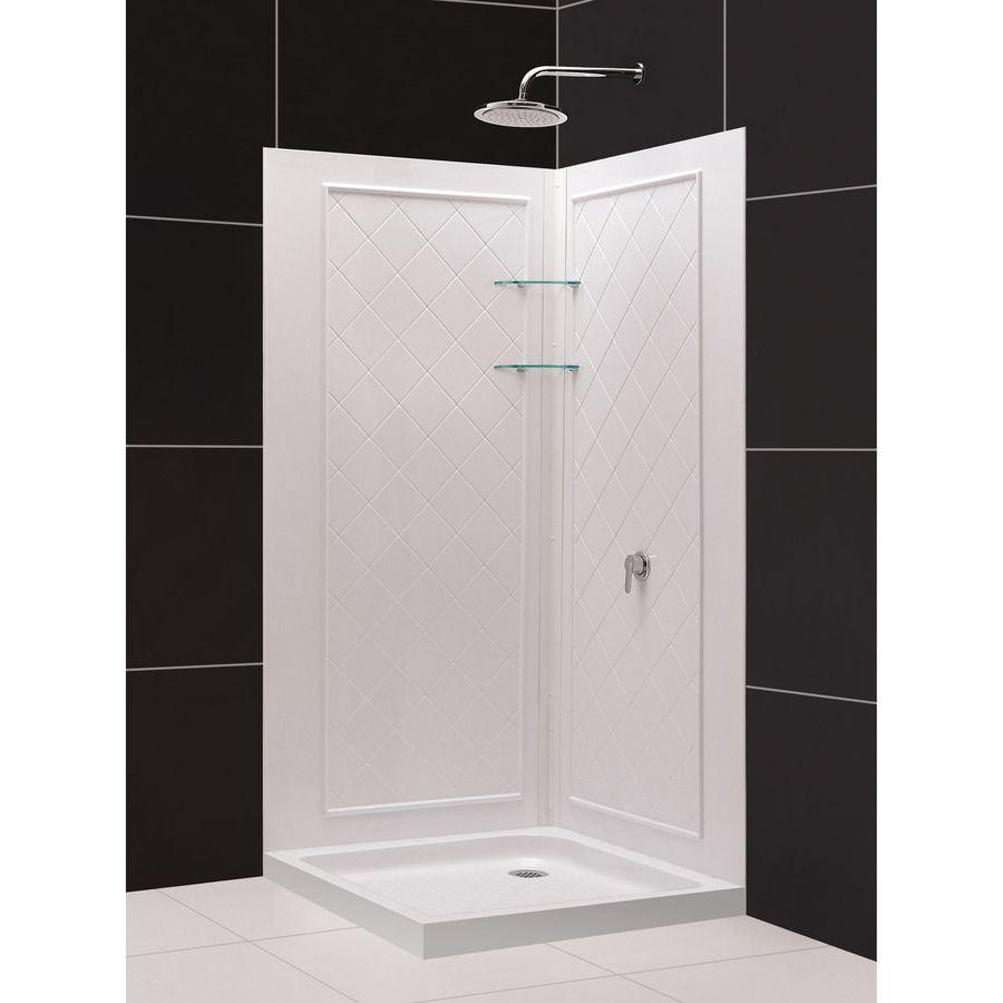 masco aqua glass diy bathtub shower repair kit. shop dreamline white acrylic wall floor square 3-piece corner shower kit (actual masco aqua glass diy bathtub repair a