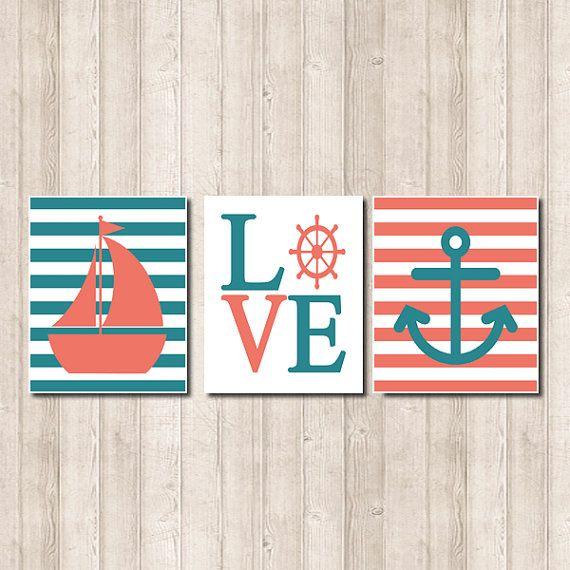 Nautical Wall Decor Pinterest : Nautical nursery wall art coral teal sailboat by