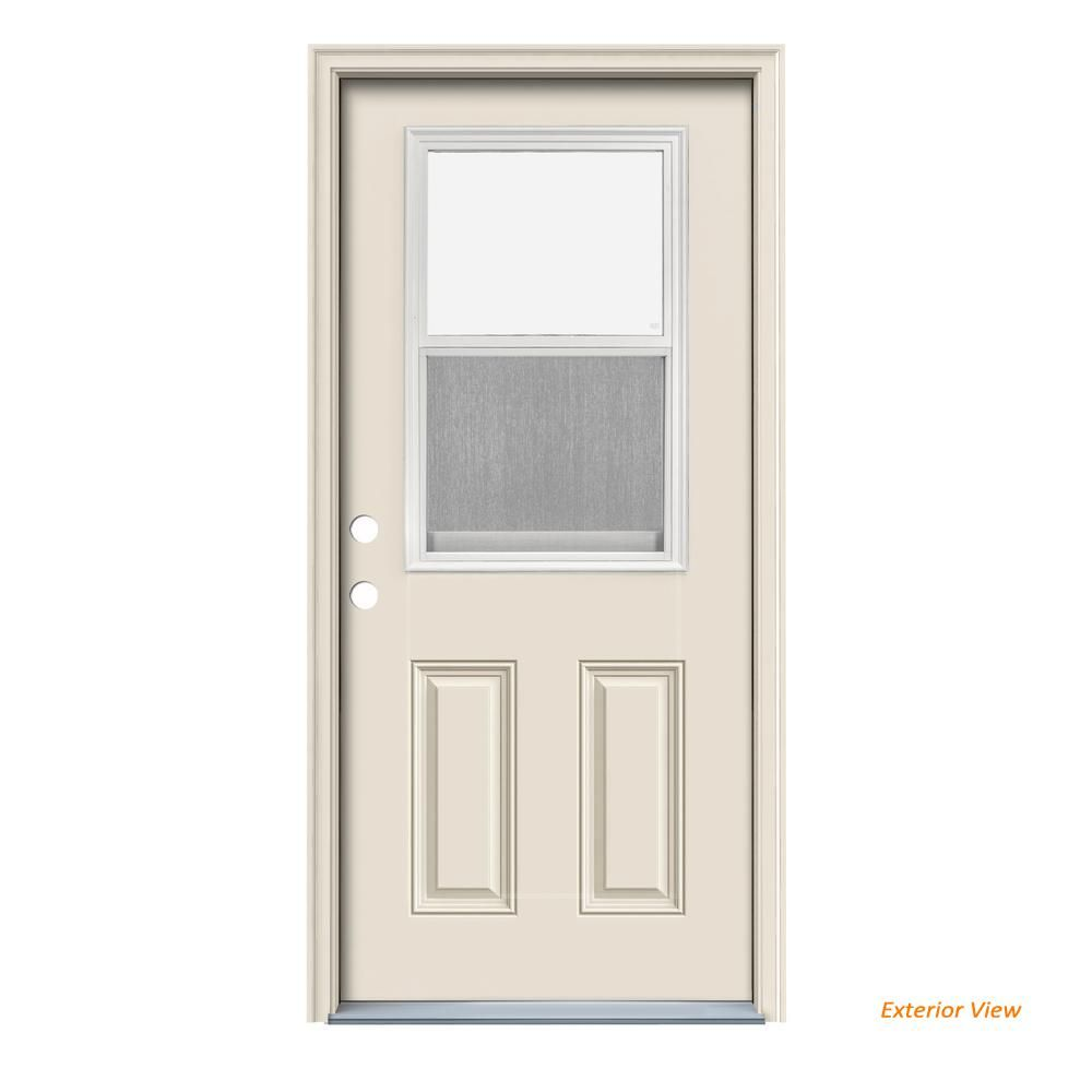 Jeld Wen 32 In X 80 In Venting 1 2 Lite Primed Steel Prehung Right Hand Inswing Front Door Thdjw191100003 The Home Depot Home Depot Primed Doors Jeld Wen