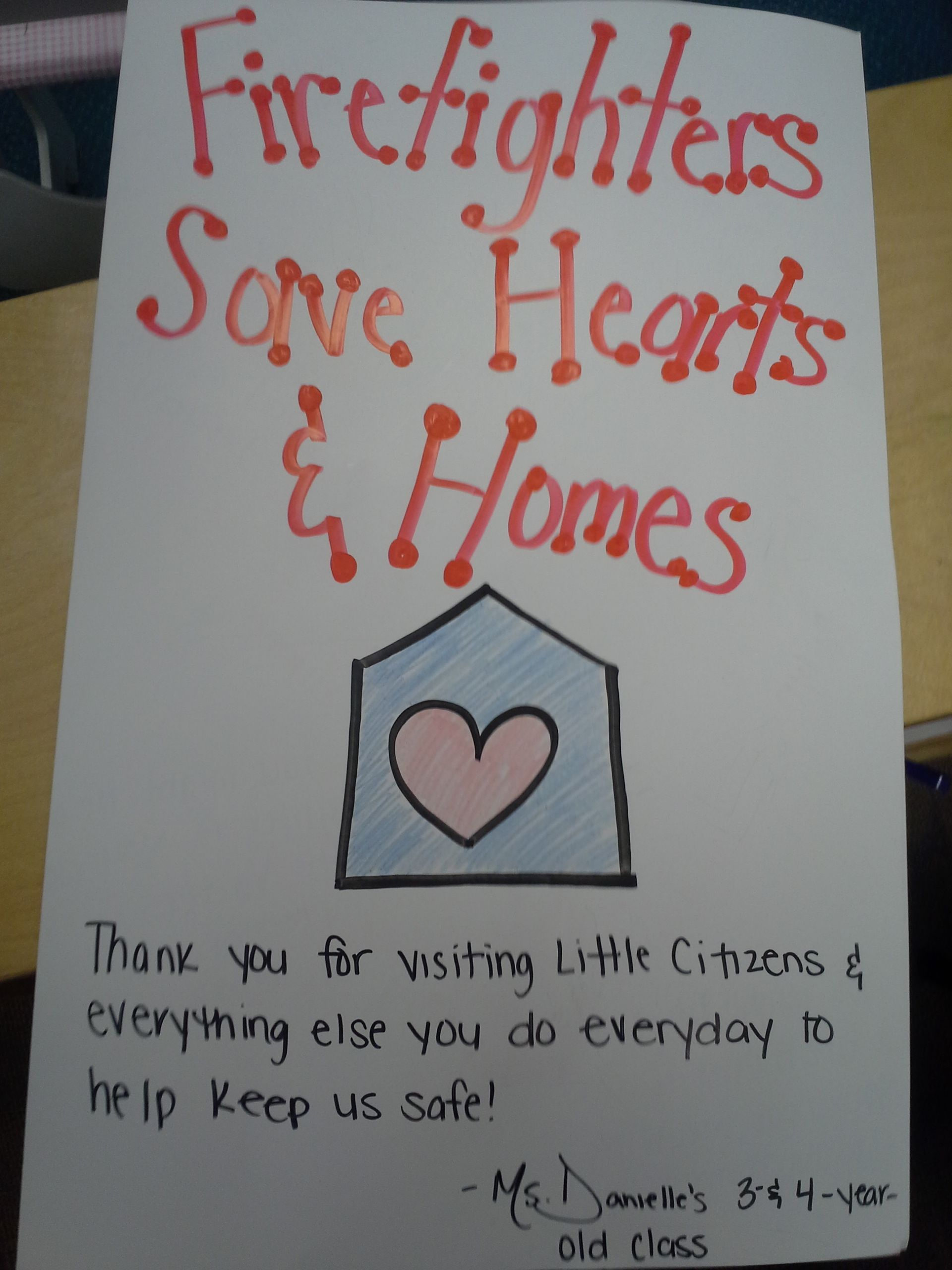Community Helpers Unit Thank You Note For Firefighters