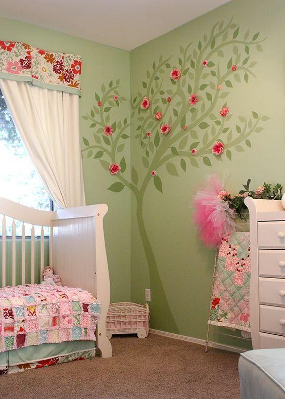 Decorar con rboles el cuarto del beb habitaciones bebe - Decoracion habitacion infantil nina ...