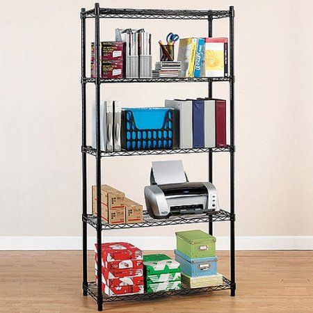 Whitmor Supreme 5-Tier Shelving System, Black