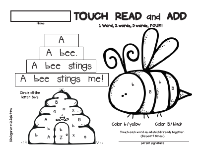 August and September Homework for Emergent Readers
