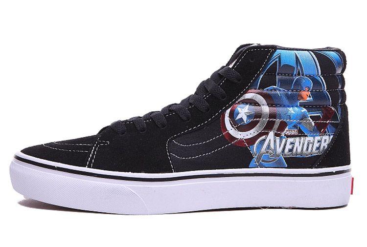 a3e8880761 Vans The Avengers Captain America SK8 Hi Skateboard Shoes Black Blue  Vans
