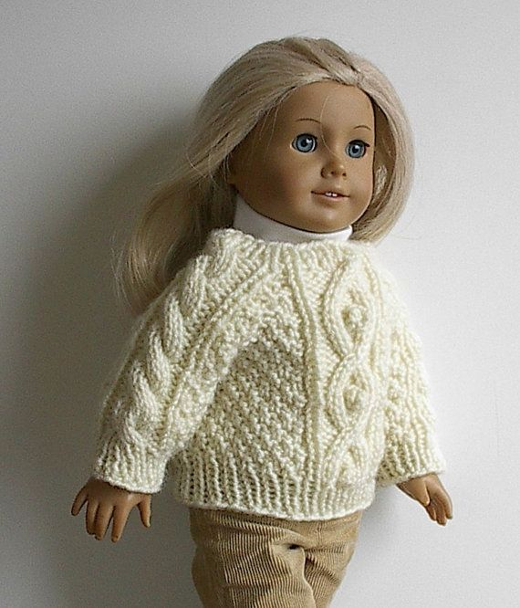American Girl Doll Clothes - Handknit Irish Fisherman Sweater for 18 ...
