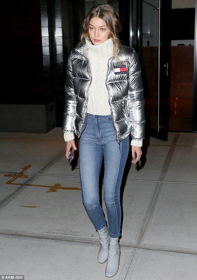 Gigi Hadid cuts a stylish figure in silver Tommy Hilfiger jacket ...