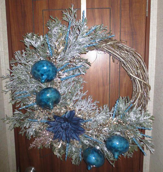 SALE Blue Dahlia Winter Wreath Blue Christmas Wreath Silver - christmas decorations sale