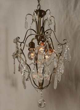 Vintage French Chandelier With Crystal Accents And Original Finish