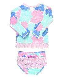 6dabdd4981f71 RuffleButts Little Girls Pastel Floral Long Sleeve UPF 50+ Rash Guard Bikini  Swimsuit – 4T