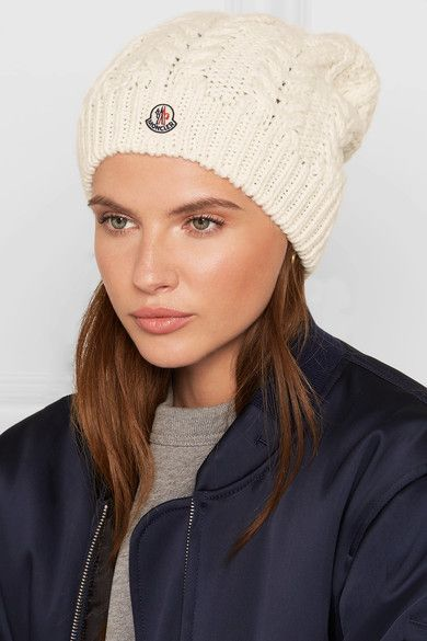Moncler - Pompom-trimmed Cable-knit Beanie - Cream  ba92038f883