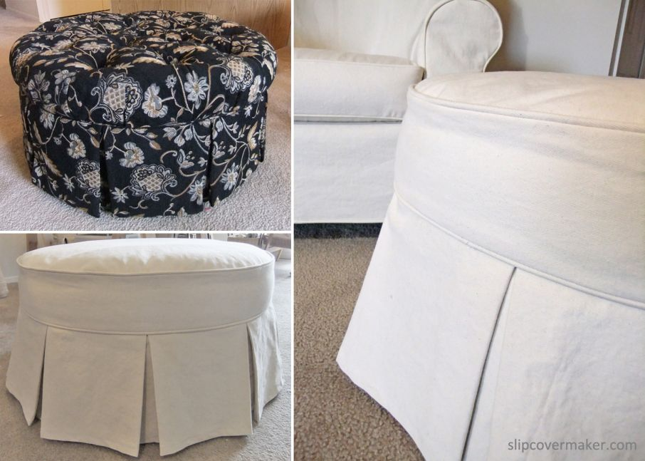 Ottoman Slipcover From Tufted To Tailored Ottoman Slipcover Slipcovers Custom Slipcovers