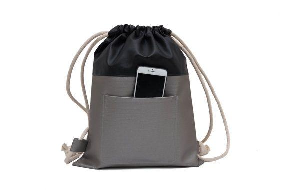 Sack Bag Purse / Large drawstring BackPack / Men BackPack / Hipster BackPack  / Women Backpack / Women Bag Purse / BackPack - Gray & Black | Tas, Tas  serut, Hipster