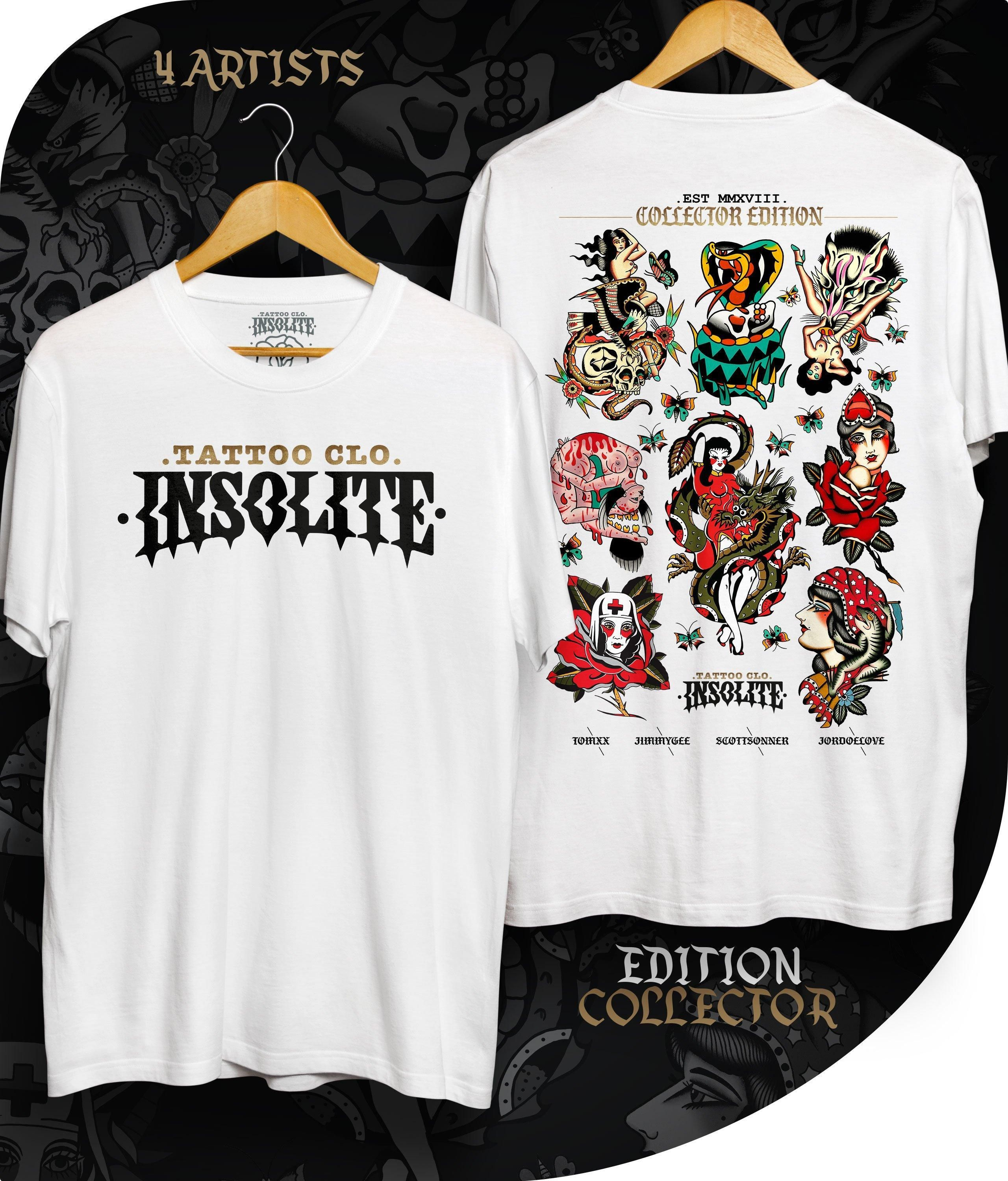 T Shirt Old School Tattoo Collector Streetwear 2019 Insolite Clothing Inspired By Tattoo T Shirt Streetwear American Tattoos Bright And Bold Kaos Desain