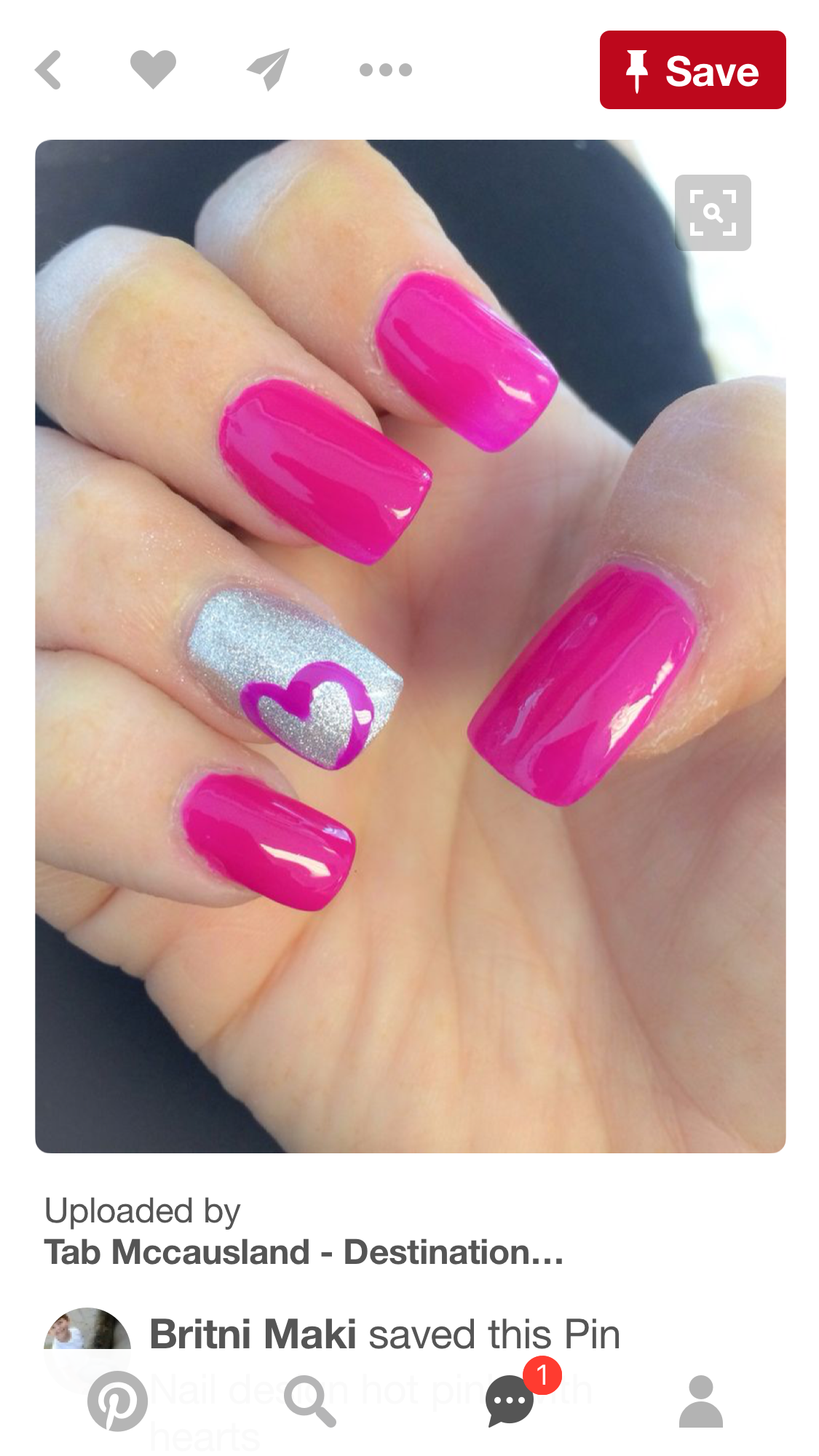 Hot Pink With Heart Nails Pinterest Hot Pink Nail Nail And