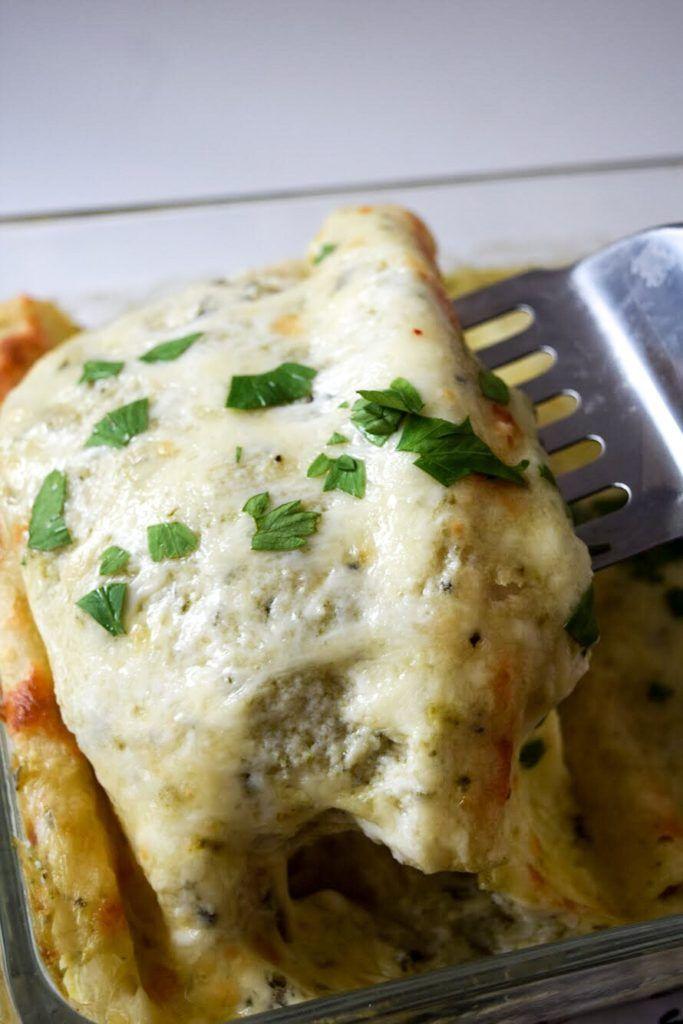 Poblano Sour Cream Chicken Enchiladas A Simplified Life Recipe In 2020 Cream Of Chicken Sour Cream Chicken Poblano