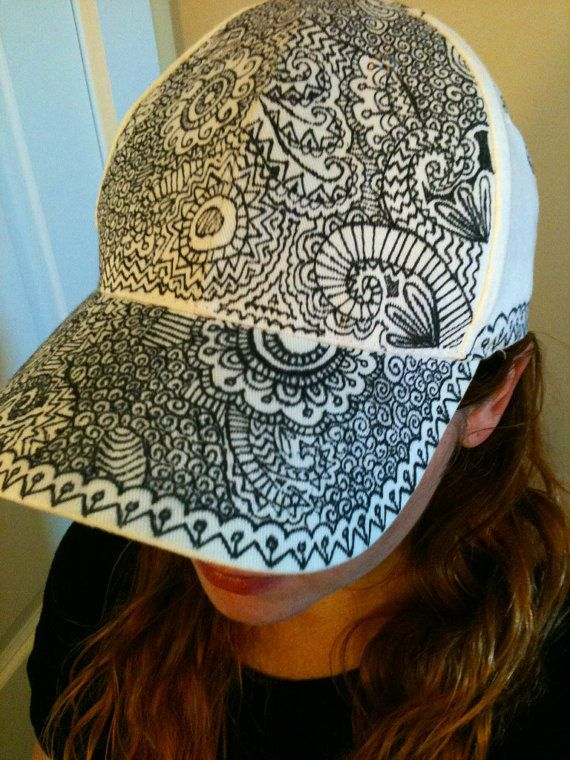 523a7e4dc90 Flat Brim Hat Hand Drawn Hat Sharpie Hat Snapback Hat Snap Back Hat Doodle  Hat Hand Painted Hat Festival Clothes Trippy Psychedelic Hippie