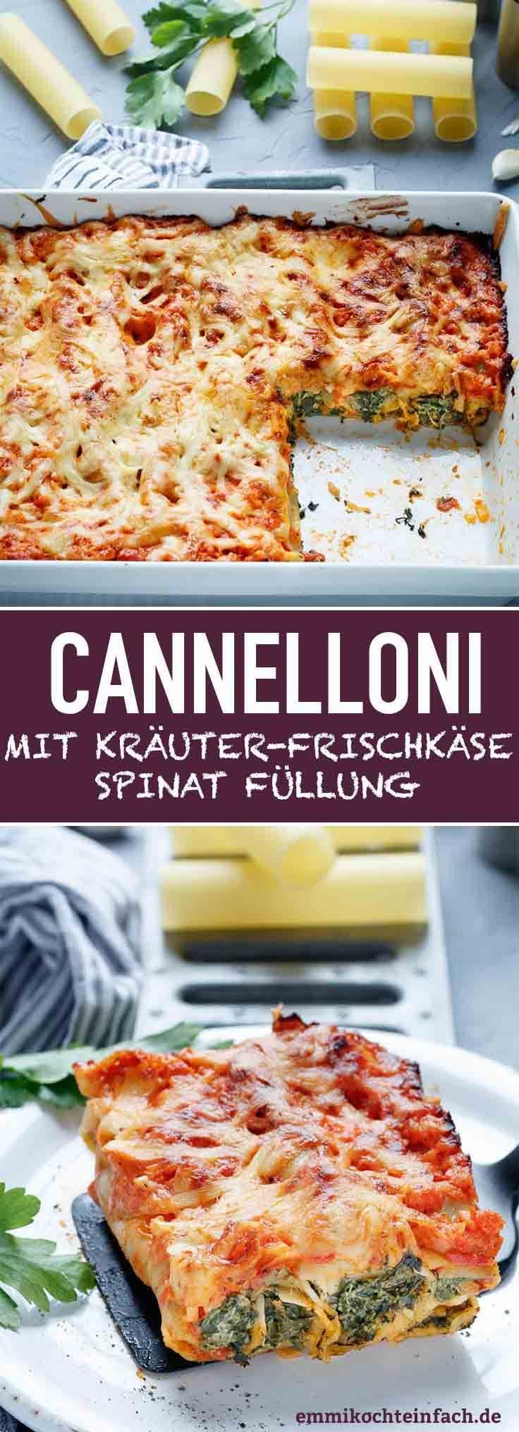 Cannelloni mit Kräuterfrischkäse-Spinat Füllung #vegetarischerezepte