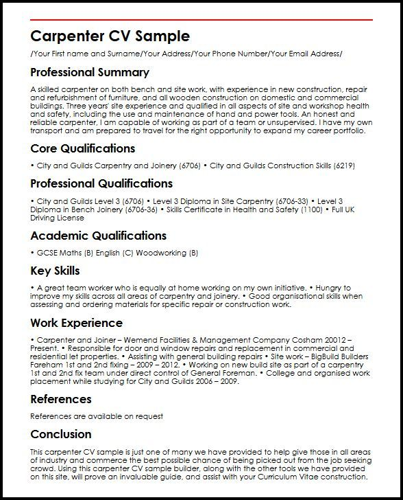 Sample Carpenter Resume Simple Resume Examples Uk  Resume Examples Sample Resume And Resume Skills