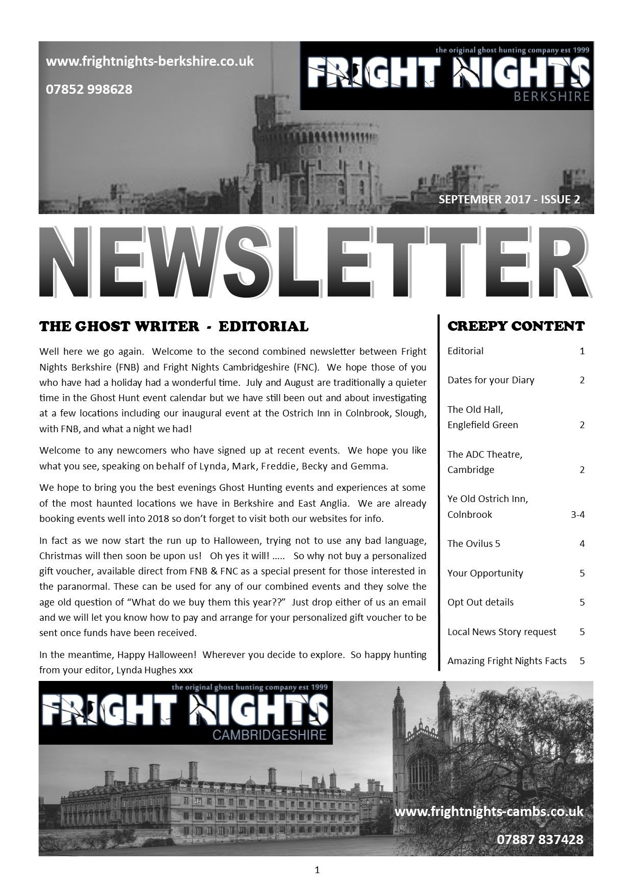 Fright Nights Berkshire News Letter Issue  September  If