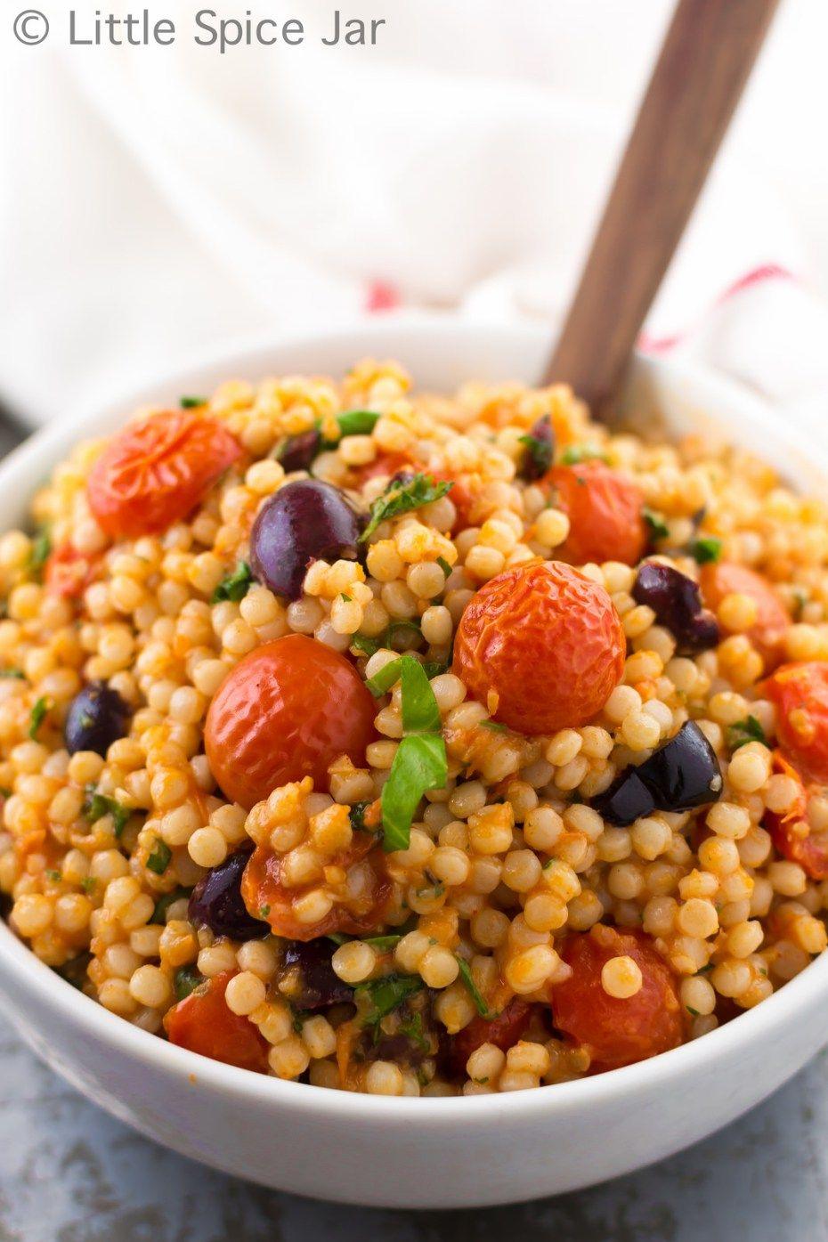 Mediterranean Pearl Couscous Salad (Israeli Couscous) White Plate 3
